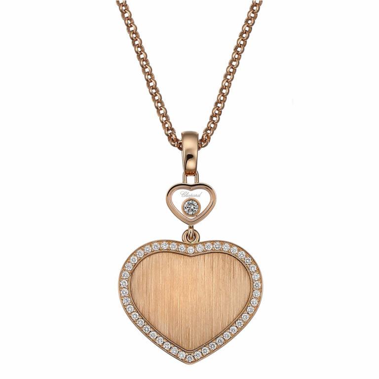 Chopard - Happy hearts Edition limitée James Bond 007 collier en or rose, pendentif cœur sertie de 44 diamants
