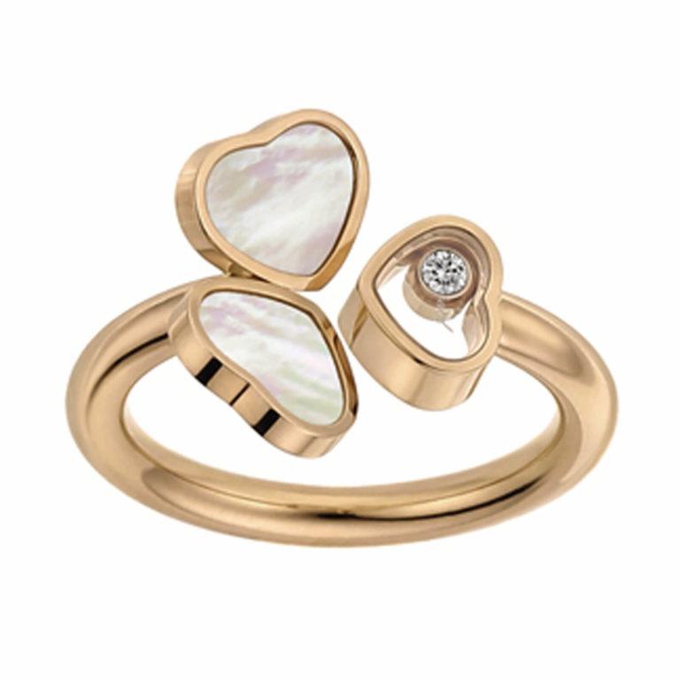 Chopard - Happy Hearts bague en or rose motif deux cœurs en nacre et un cœur un diamant mobile