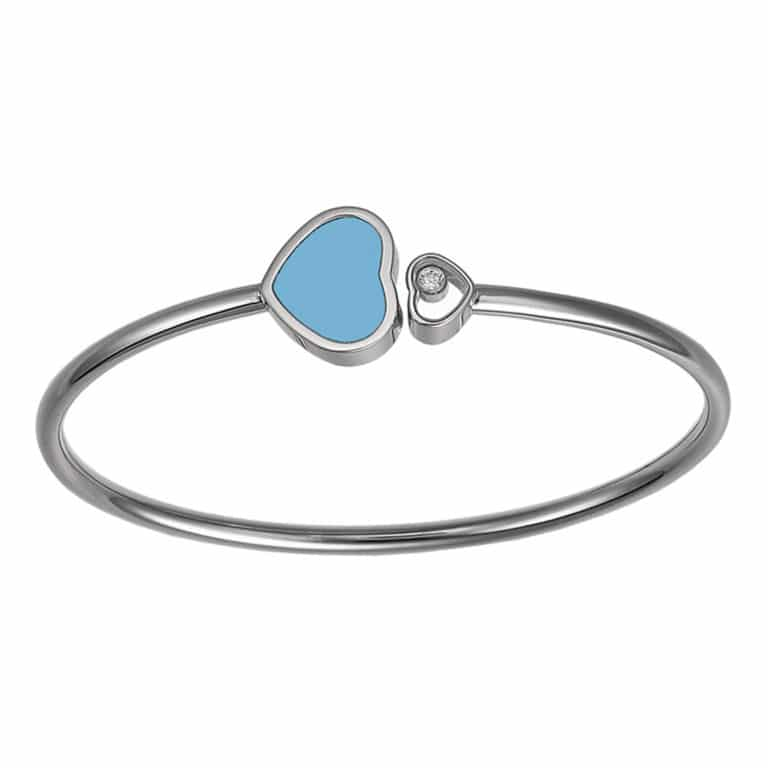 Chopard - Happy Hearts rigid bracelet in white gold, heart motif with a turquoise stone and a heart motif with a mobile diamond
