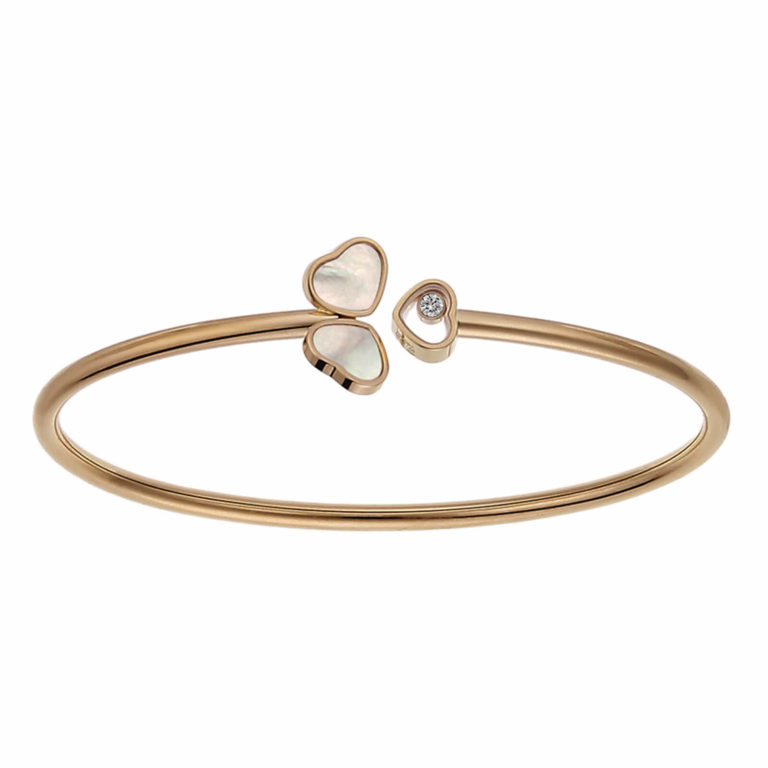 Chopard - Rigid Happy Hearts bracelet in pink gold, 3 heart motifs, one with a mobile diamond and two with white mother-of-pearl