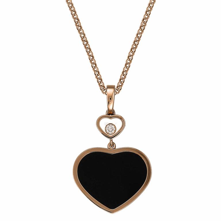 Chopard - Happy Hearts collier en or rose motif cœurs avec onyx et un diamant mobile
