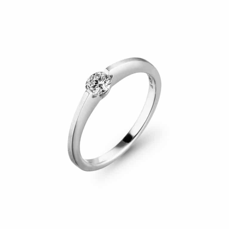 Schaffrath - Liberté Engage solitaire en or blanc serti d'un diamant libre