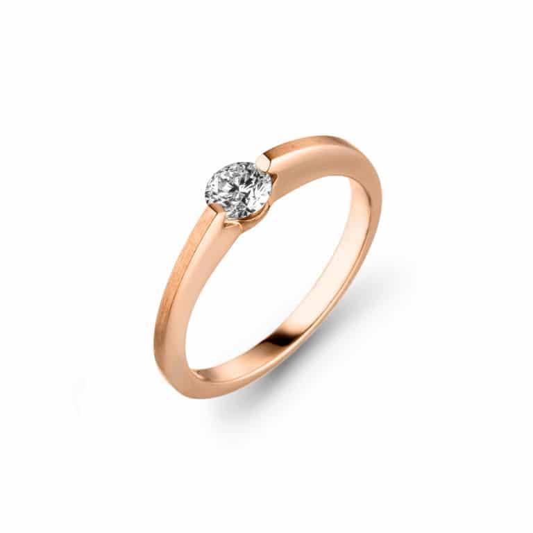Schaffrath - Liberté Engage solitaire en or rose 750 serti d'un diamant libre