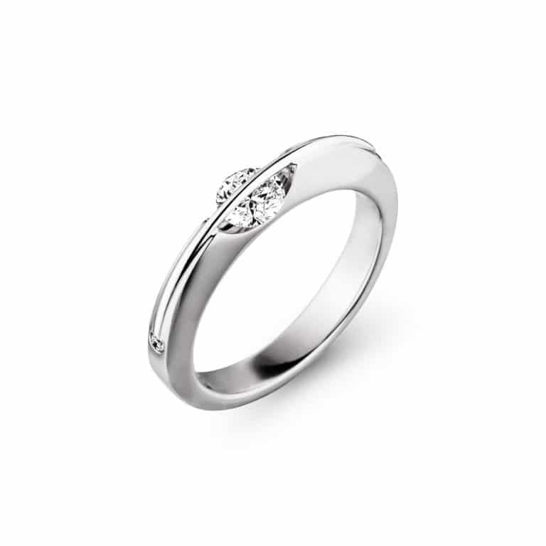 Schaffrath - Liberté Arcana solitaire en or blanc et platine serti d'un diamant libre