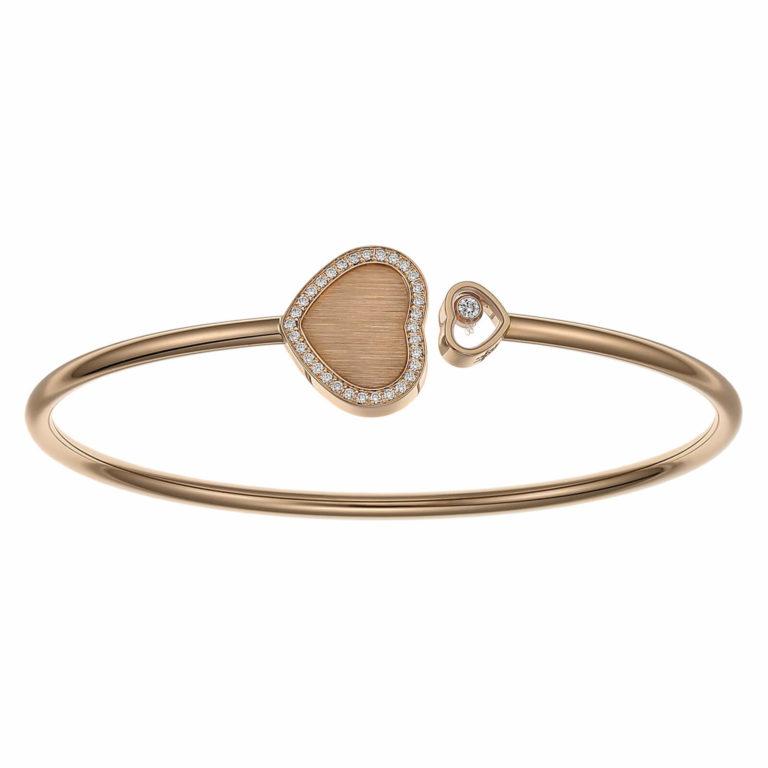 Chopard - Happy Hearts édition James Bond 007 bracelet en or rose et un cœur serti d'un diamant mobile et en coeur sertie de 32 diamants