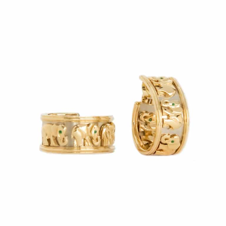 """Cartier - """"Walking Elephants"""" ear clips yellow gold with emeralds"""