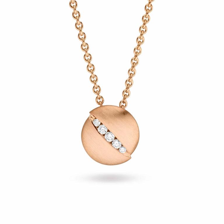Schaffrath - Urban collier en or rose satiné et poli serti d'un diamant, maille forçat ronde