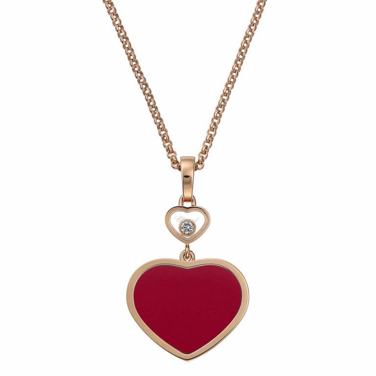 Chopard - Happy hearts collier en or rose, pendentif coeur avec une pierre rouge et un coeur avec un diamant mobile