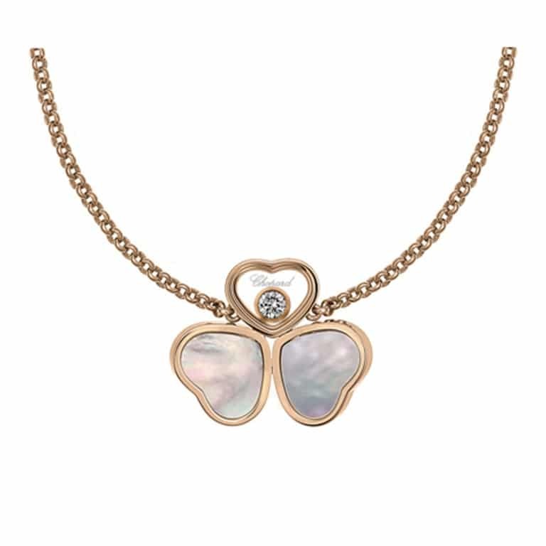 Chopard - Happy hearts collier en or rose avec deux coeurs nacre et un coeur avec un diamant mobile