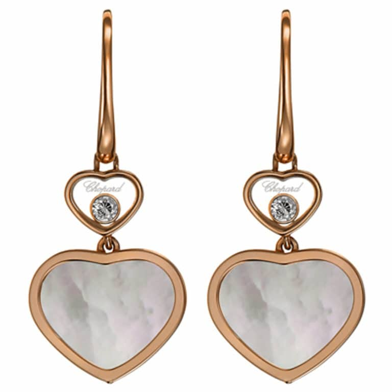 Chopard - Happy Heart sleeper earrings in pink gold, two small hearts with two moving diamonds and two hearts with mother of pearl