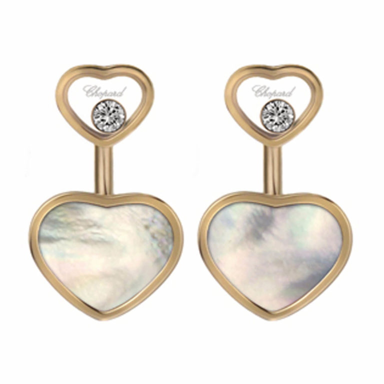 Chopard - Happy Hearts earrings in pink gold, 2 small hearts with two moving diamonds and two hearts with mother-of-pearl