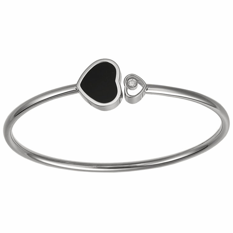 Chopard - Happy Hearts, white gold bracelet, heart with a moving diamond and a heart with an onyx
